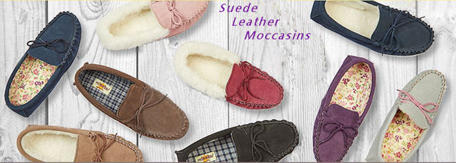 Suede Leather Moccasin Slippers